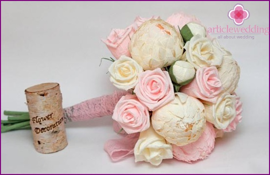 Bridal bouquet of crepe flowers