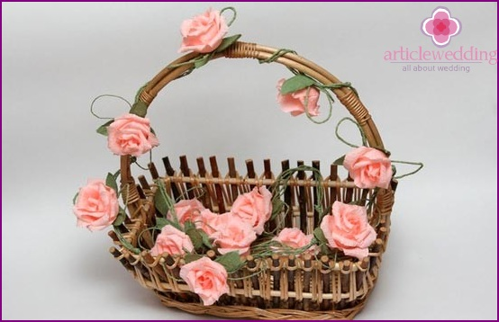 Crepe flowers on a basket