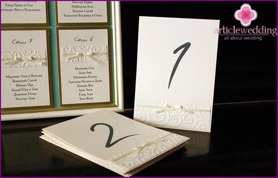 Gentle Cardboard Table Numbers