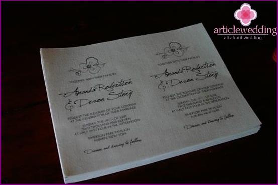 Printed Invitation Sheets