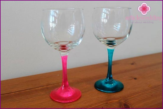 Glasses with multi-colored legs