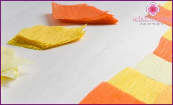 Cut crepe paper parts