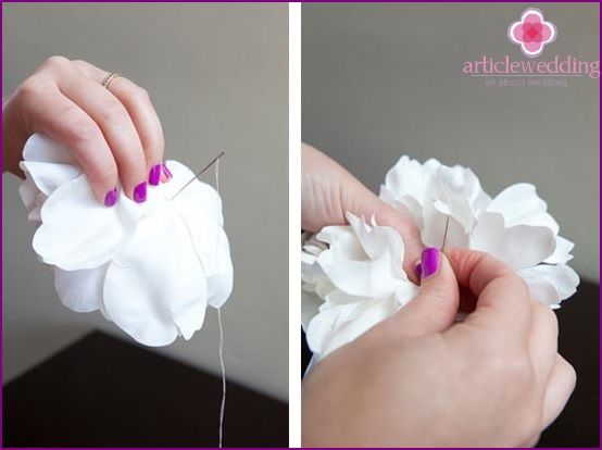 Take a few petals and sew with a thread