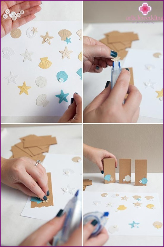 Glue the decorations to the cards