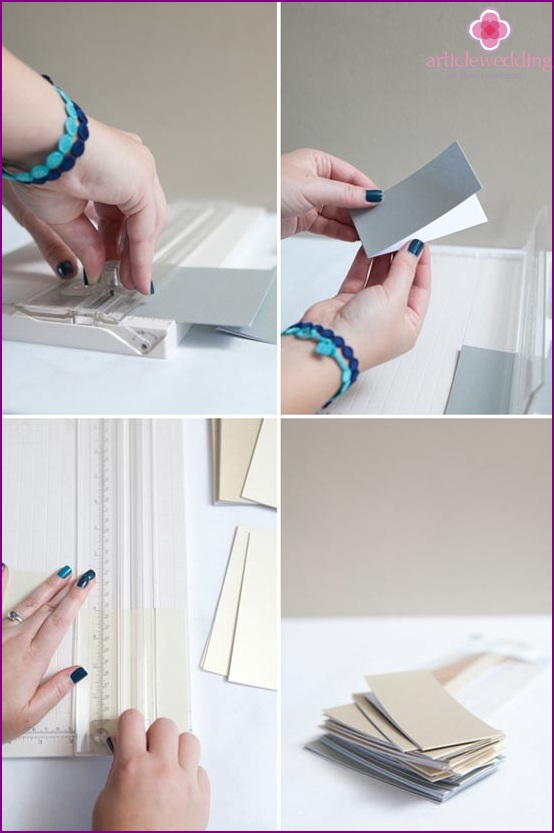 Cut the greeting card into three parts