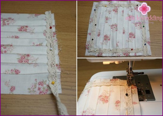 Sew lace to the fabric