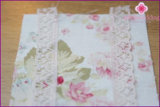 Lace sewn to the fabric