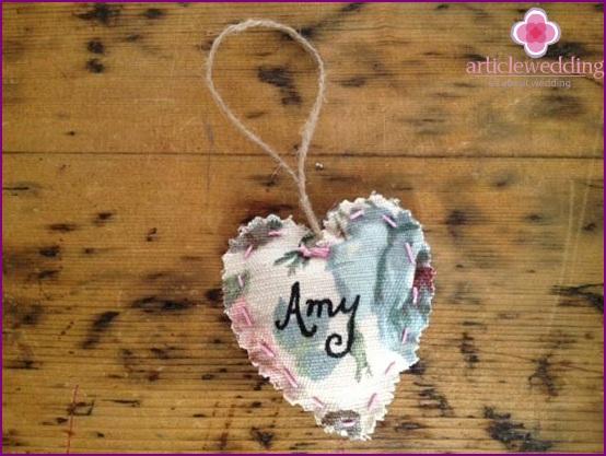 Beautiful hearts made of fabric