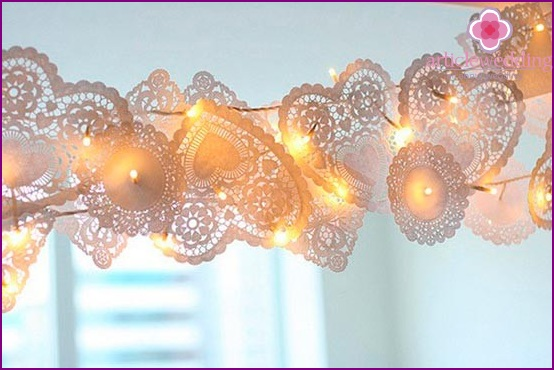 Garland of lace hearts for a wedding