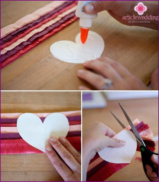 Glue the fringe to the heart