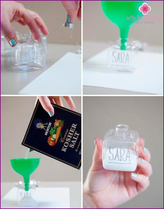 Pour salt into containers