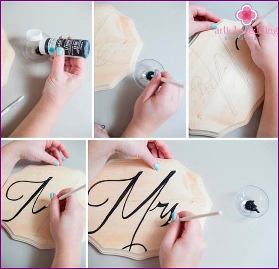 Draw the letters with paint