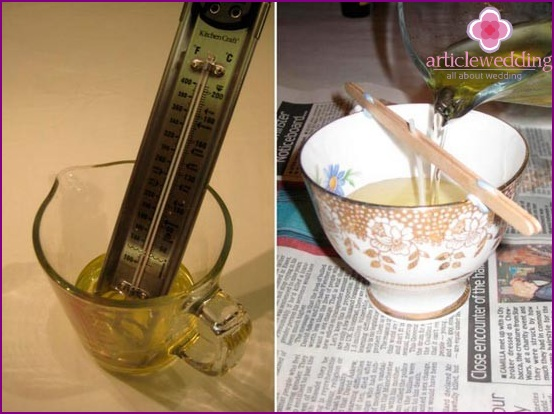 Measure the temperature and pour wax into the cup