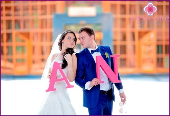 Newlyweds with their initials