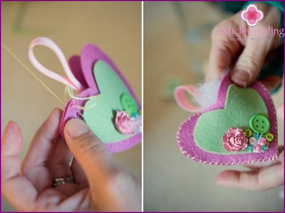 We sew the product with stitches and make a holder