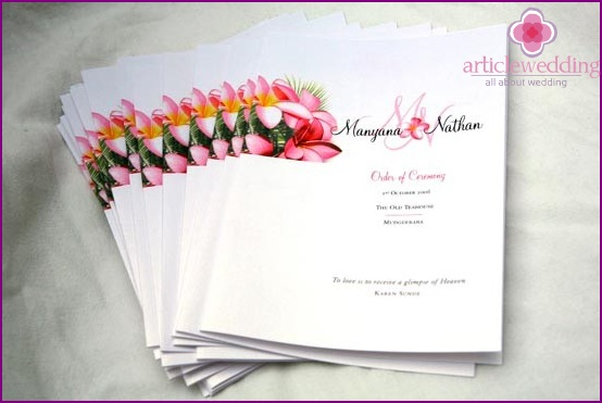 Printed Wedding Program
