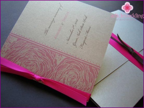 Wedding program in the color of the holiday