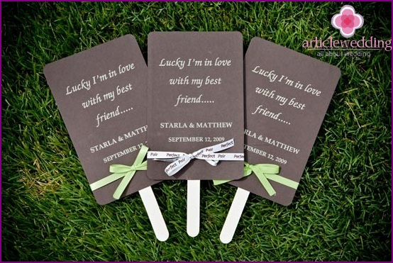Stylish wedding program on a stick