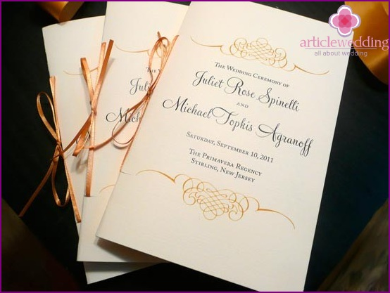 Wedding program with ribbon firmware