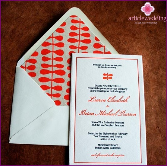 Wedding program in color envelope
