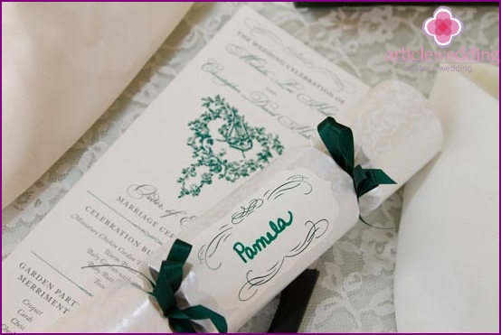 Stylized wedding program in the form of a scroll