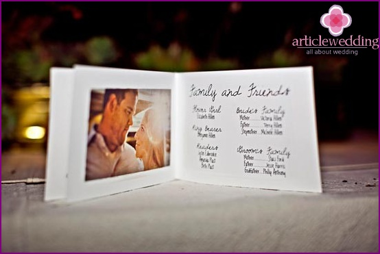 Wedding program with newlyweds photo