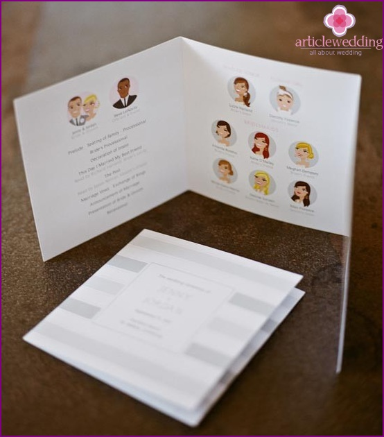 Wedding program with guest images