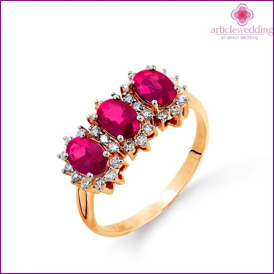 Ring with colored stones