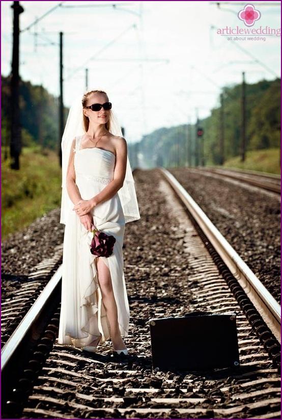 Bride on the railway