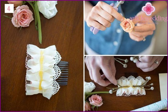 Decorate a hairpin with flowers