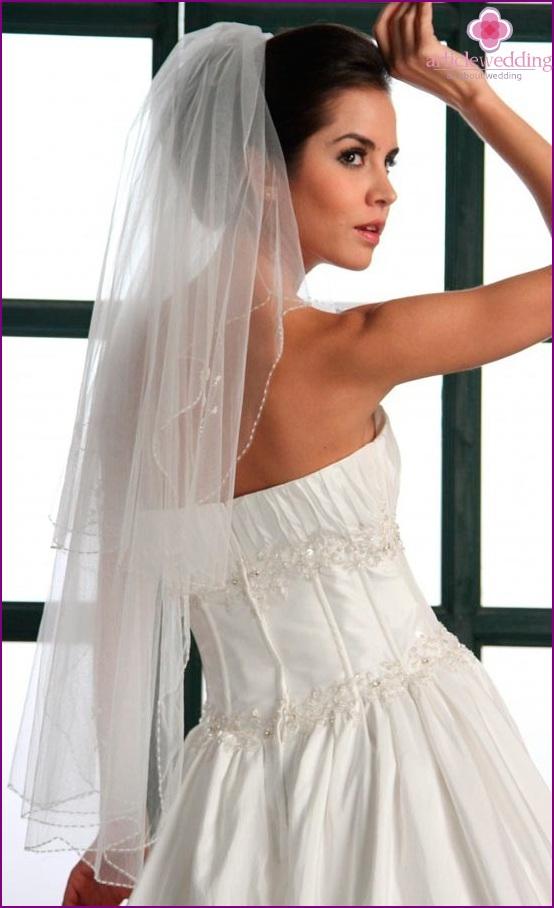 Light veil with bead trim