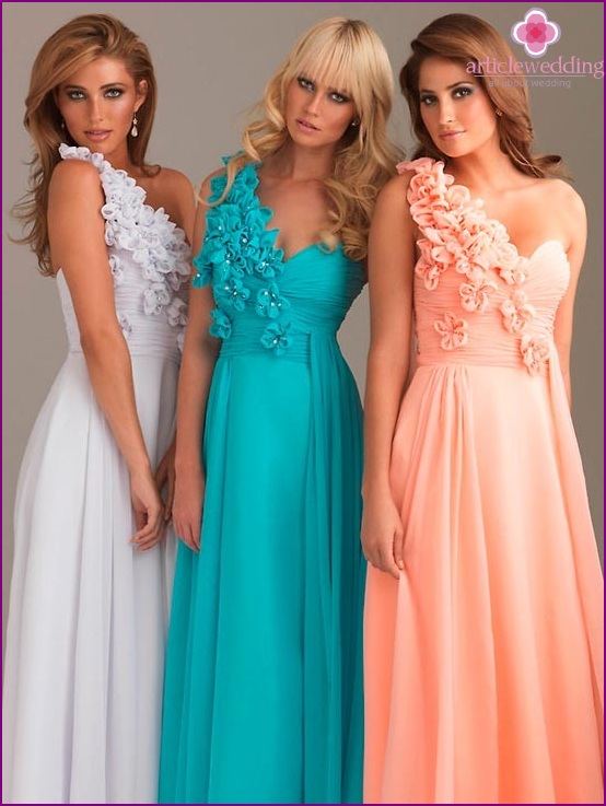 Dresses of the same color in different styles