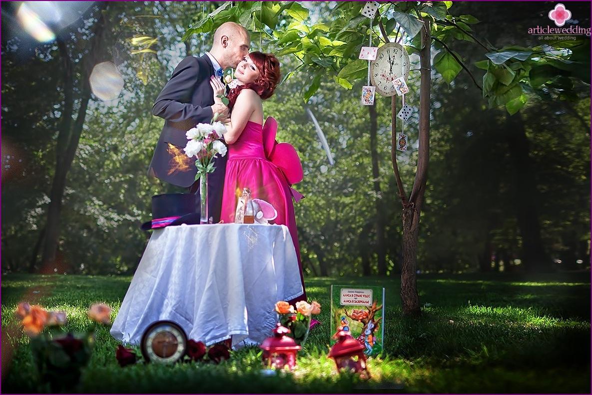 Alice in Wonderland wedding anniversary photo shoot