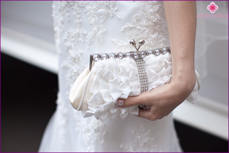 Stylish handbag of the bride