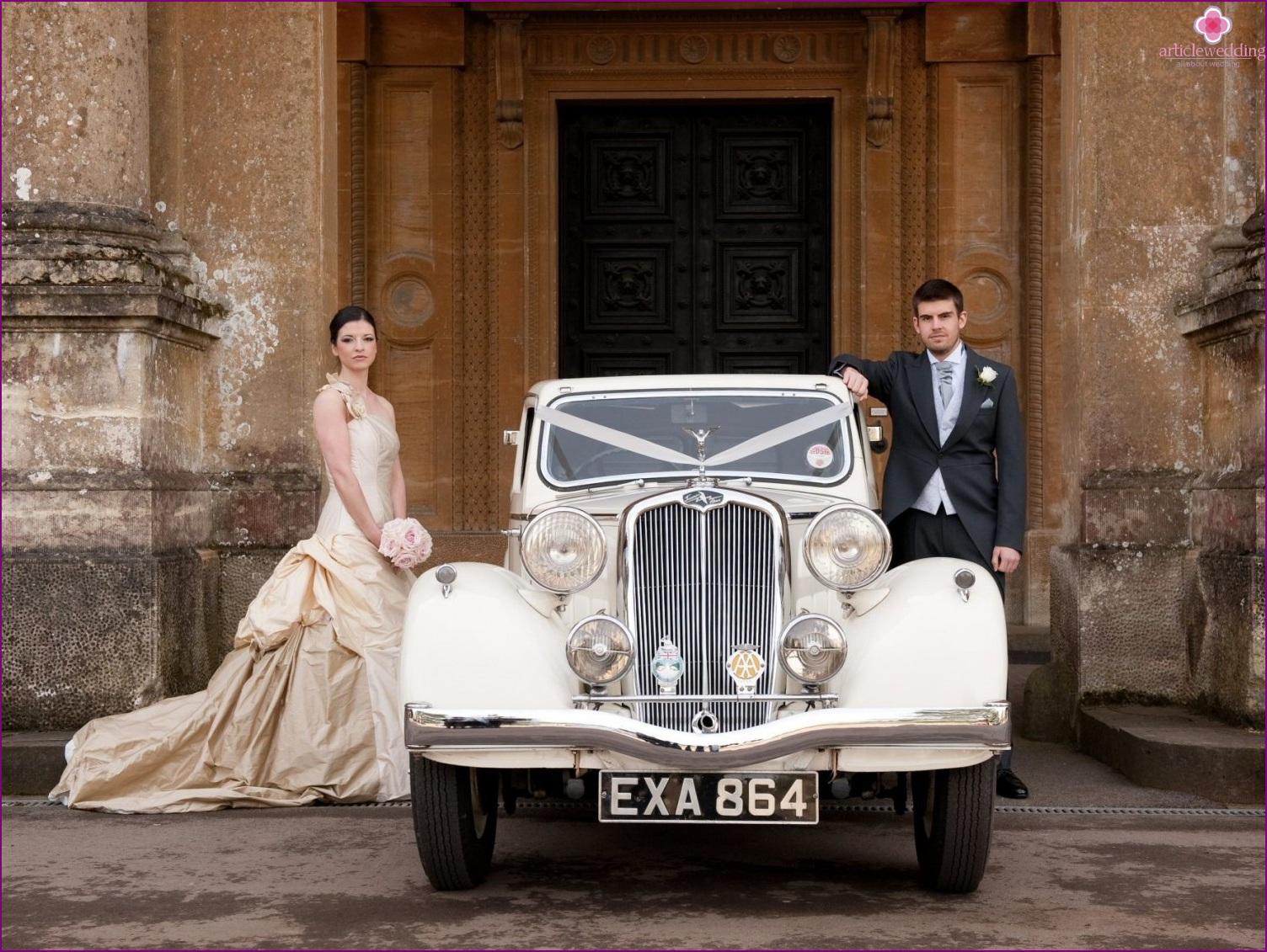 White retro car for a wedding
