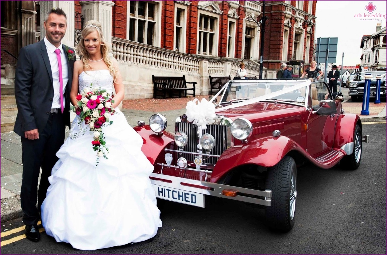 Red car for a wedding