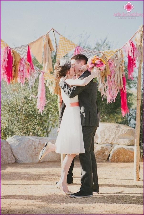 Wedding photo zone from garlands