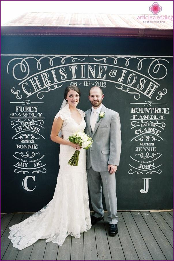 Chalkboard wedding photo zone