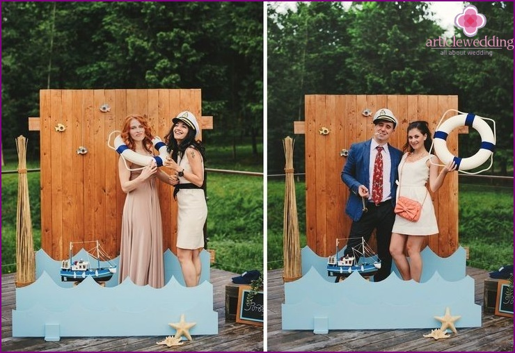 Wedding photo zone in the style of the sea