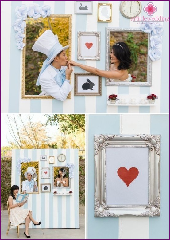 Wedding photo zone in the style of Alice in Wonderland