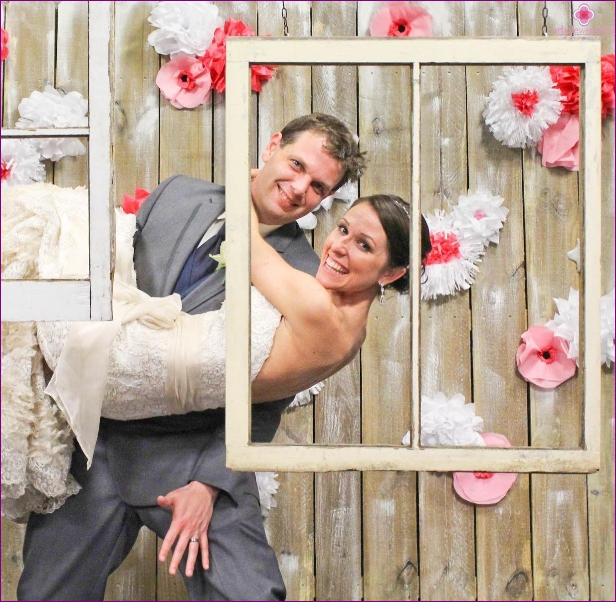 Wedding photo zone with frames