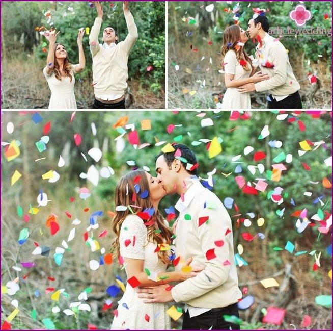 Confetti in the wedding photo zone
