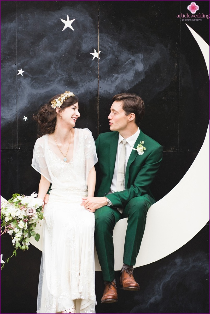 Wedding photo zone with the moon