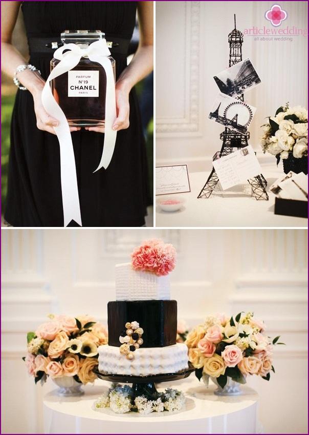 Coco Chanel-style wedding decoration