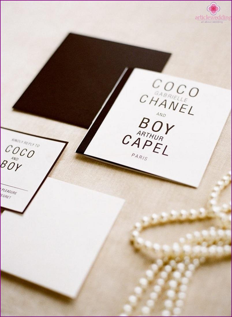 Coco Chanel Style Wedding Invitations