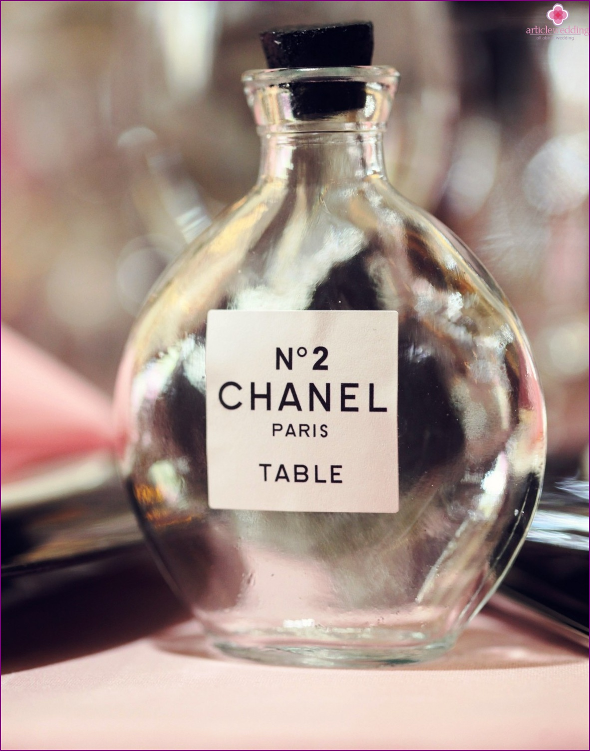 Chanel-style wedding table numbers