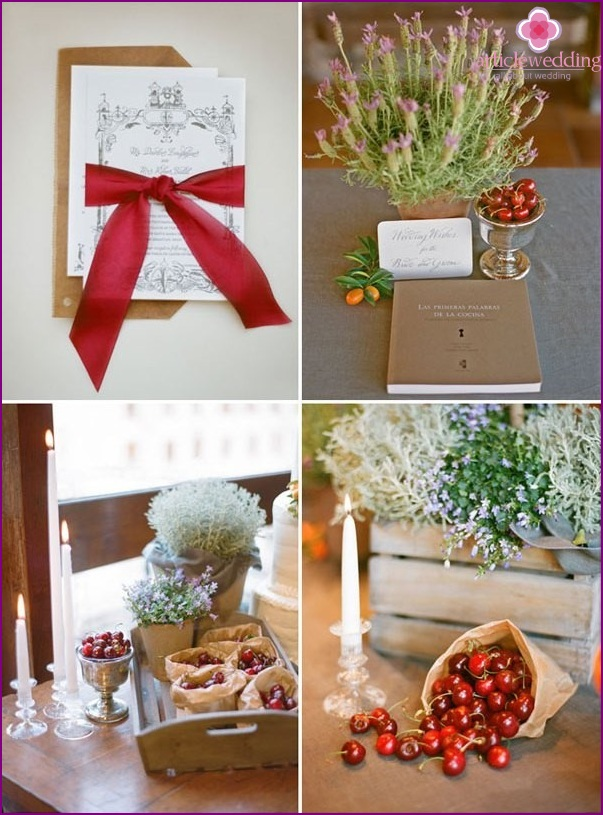 Wedding invitations and decor details