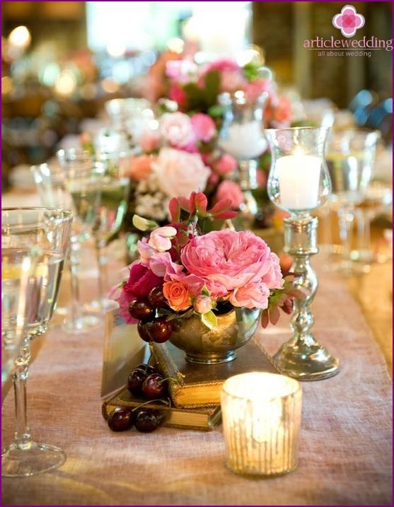 Flower cherry arrangement on the table