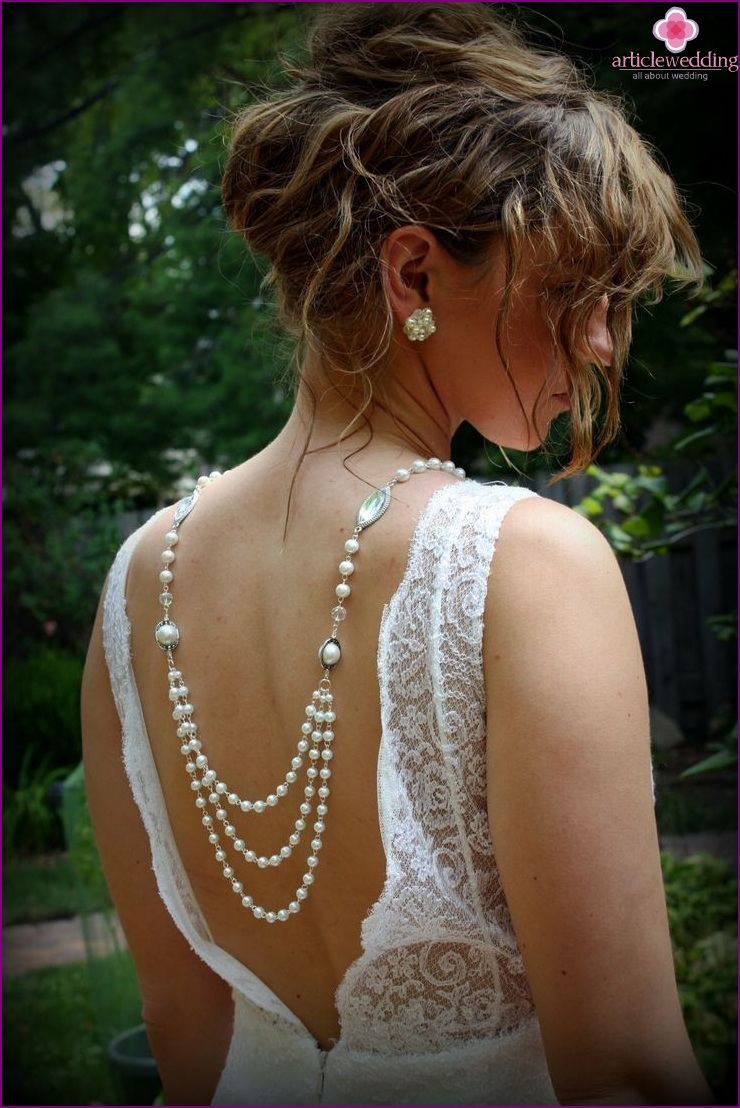 Backless Decoration Wedding Dress