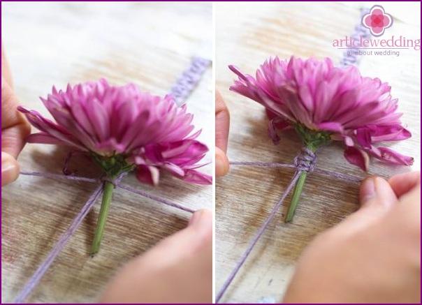 Weaving around the flower stalk